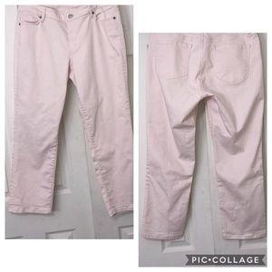 Pink Ann Taylor Loft curvy cuffed crop Size 14